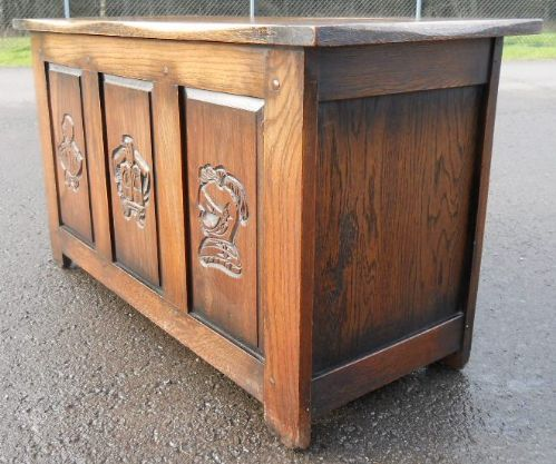 Carved Oak Panel Front Blanket Box